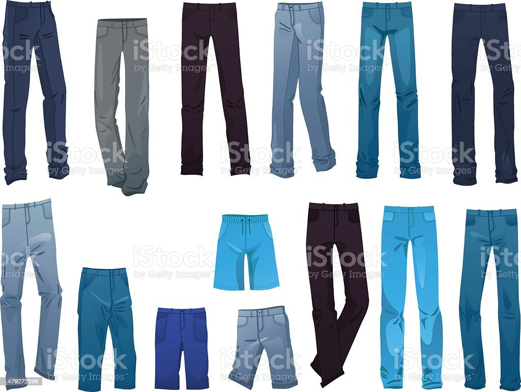 Men's jeans vector art illustration