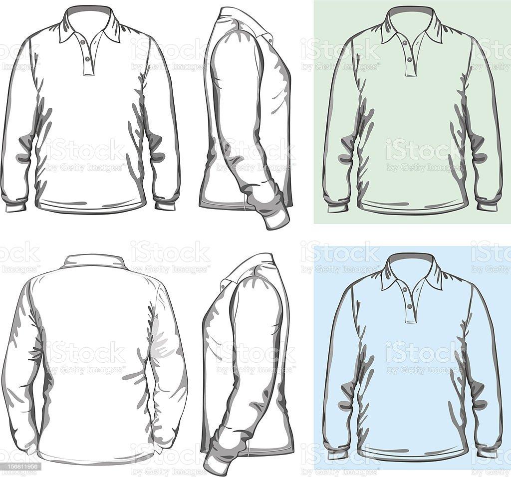 Men's long sleeve polo-shirt royalty-free stock vector art