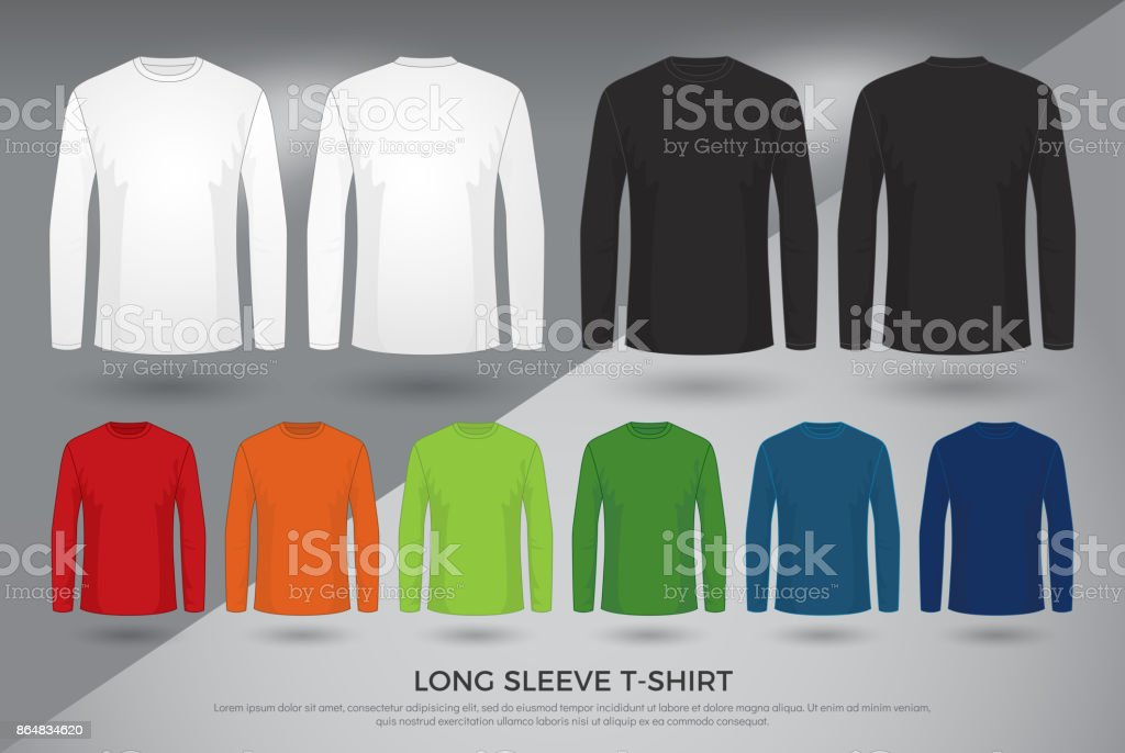 Mens Long Sleeve Tshirt Set Of Black White And Colored Long Sleeve