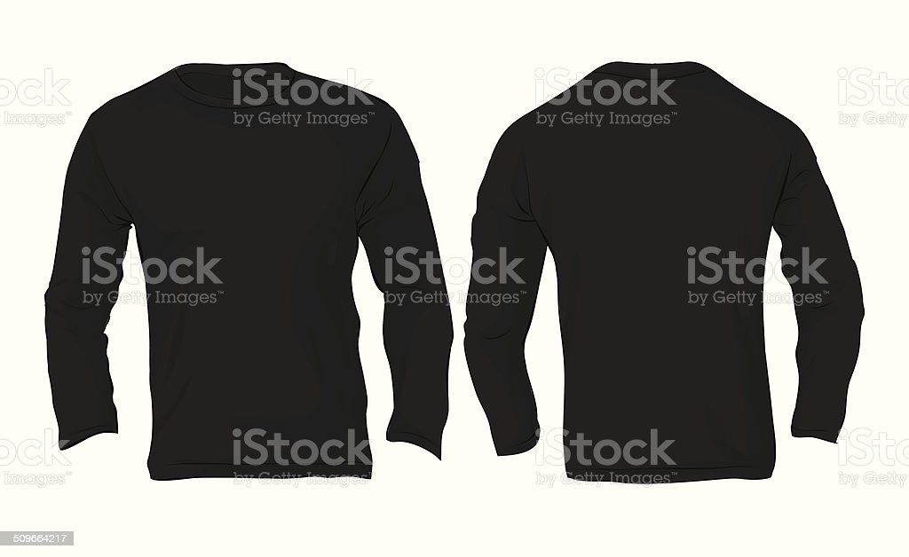 Men's Long Sleeved T-Shirt Template, Black Color vector art illustration