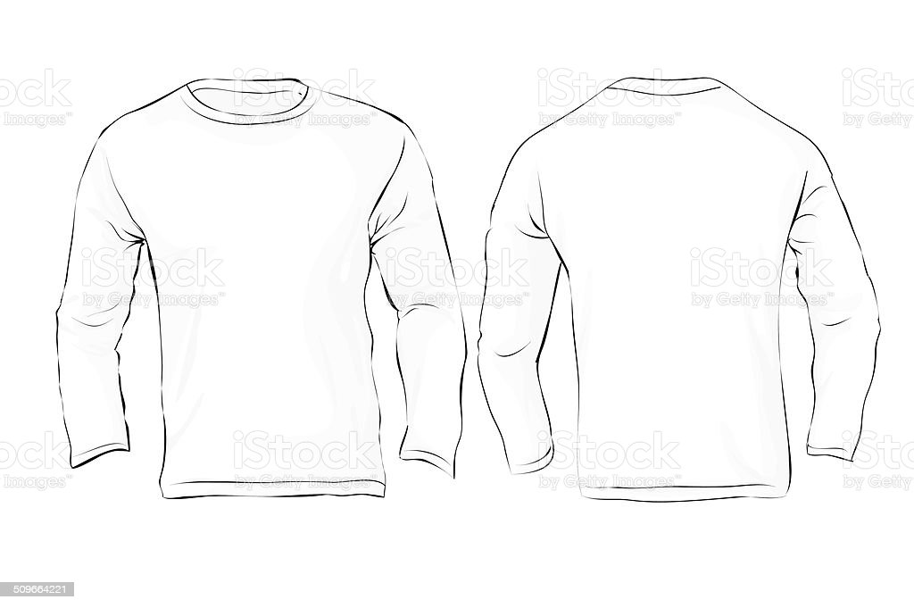 mens long sleeved tshirt template white color stock vector art more images of adult 509664221. Black Bedroom Furniture Sets. Home Design Ideas