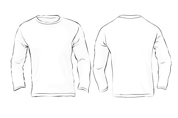 Royalty Free Mens Long Sleeved T Shirt Template In Many Color Clip