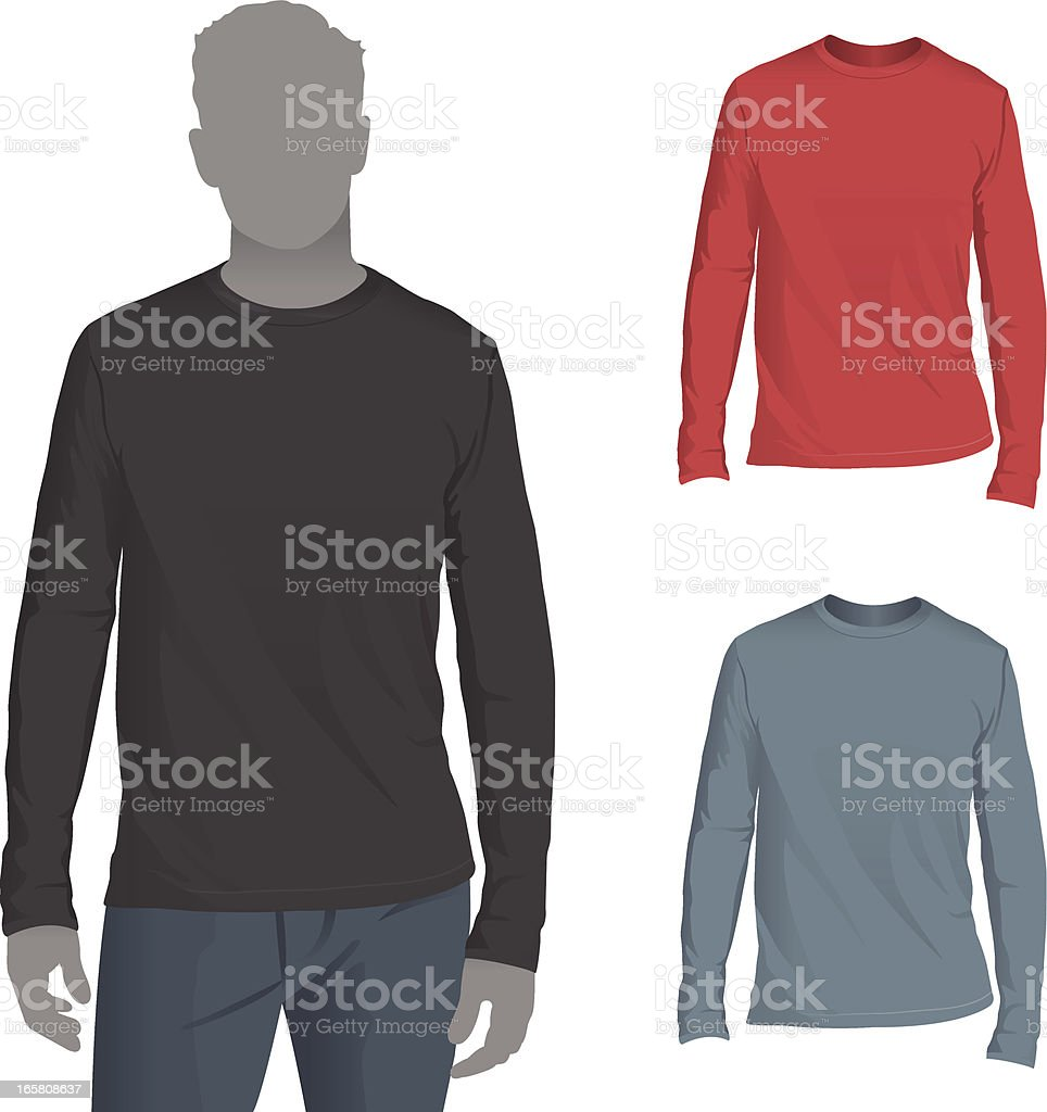 Men's Longsleeve T-Shirt Mockup Template royalty-free stock vector art