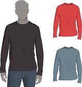 istock Men's Longsleeve T-Shirt Mockup Template 165808637