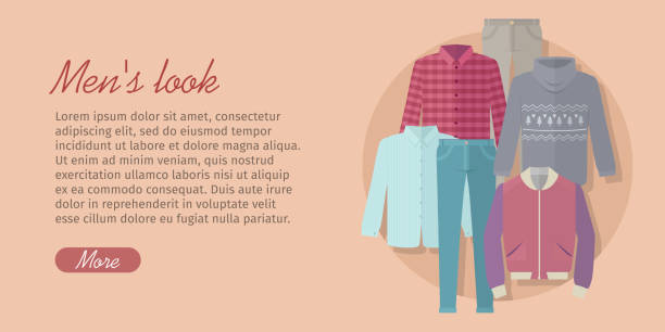 mens look web banner. card with trendy clothes - mens fashion stock illustrations, clip art, cartoons, & icons