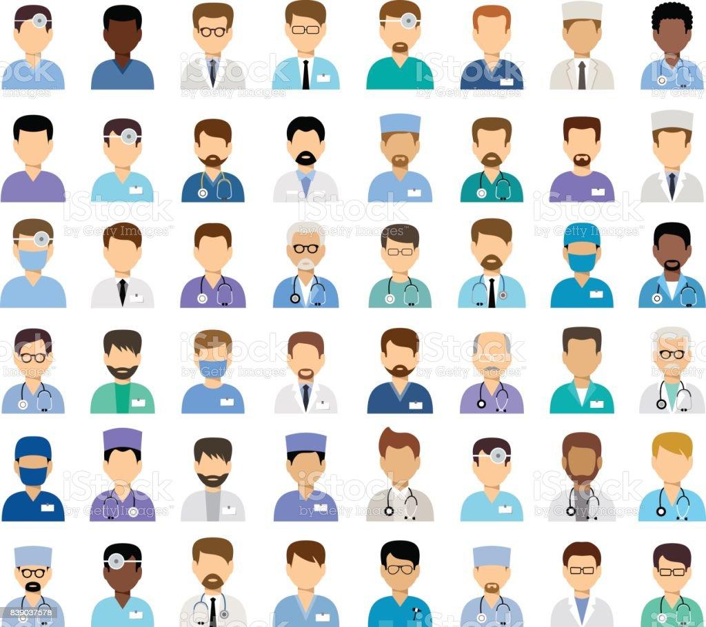 Men's medical avatars vector art illustration