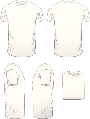 Hombres moderno en forma de camiseta en cinco vista