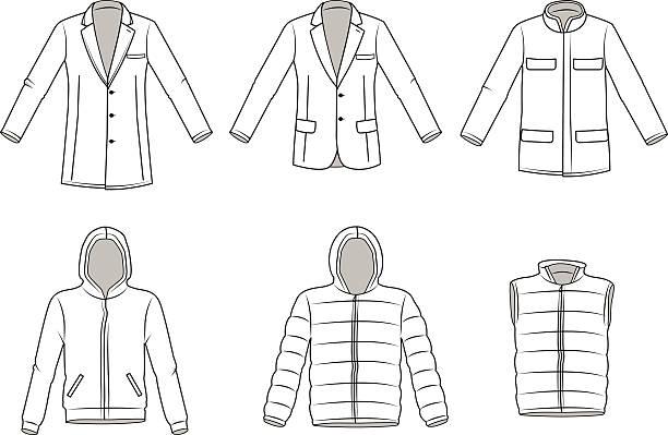 herren-outdoor-bekleidung, kleidung illustration, jacke, blazer. jacke, vektor - parkas stock-grafiken, -clipart, -cartoons und -symbole