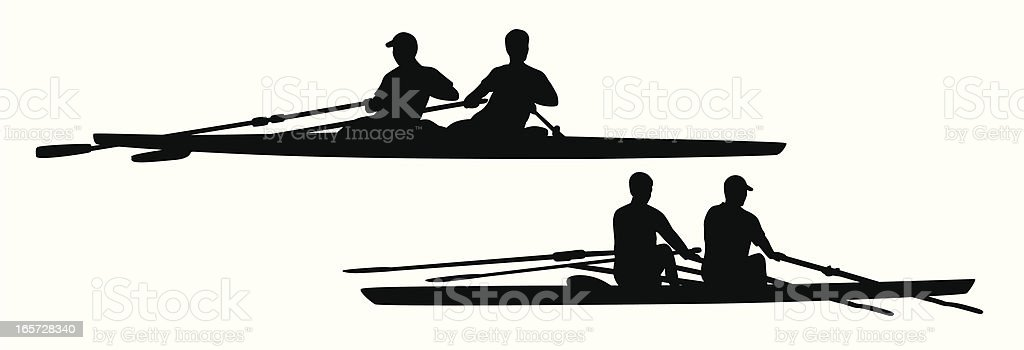 Mens Pairs Rowing Vector Silhouette vector art illustration