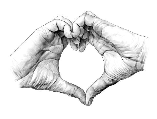 men's palms folded in heart shape – artystyczna grafika wektorowa