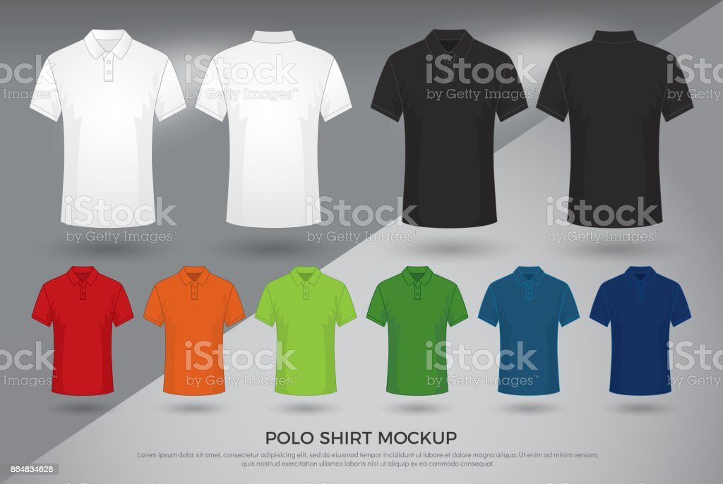 Mens Polo Shirt Mockup Set Of Black White And Colored Blank Polo ...