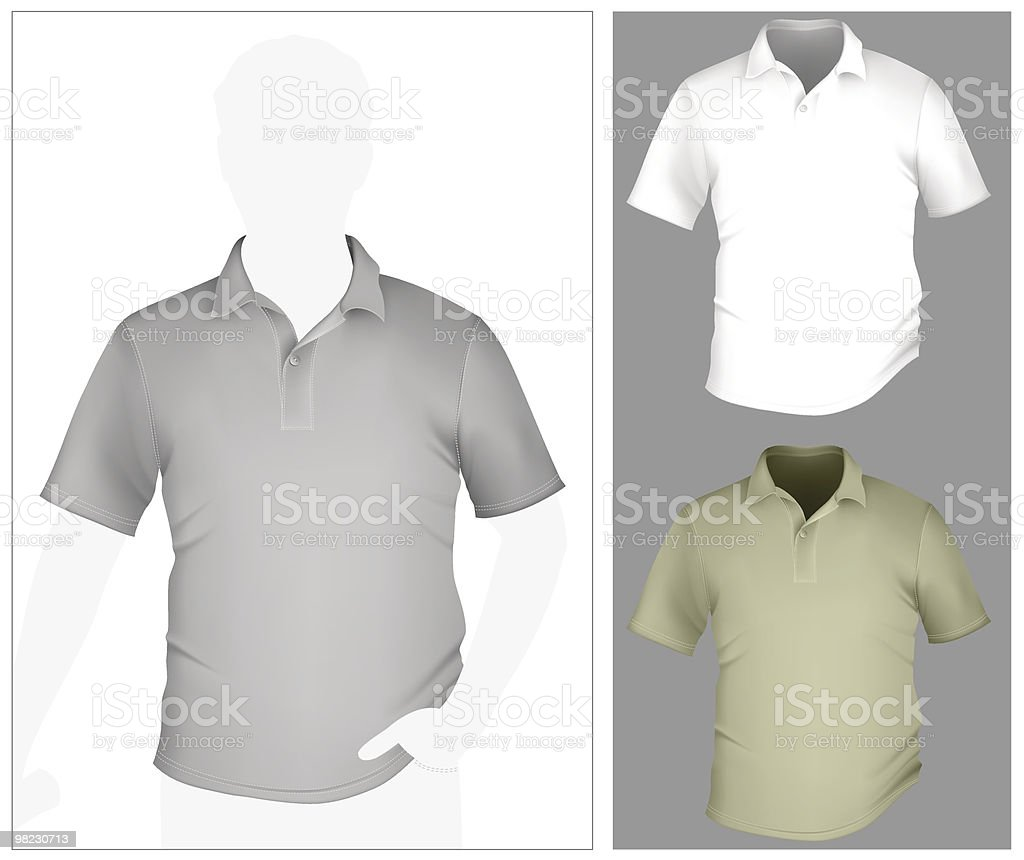 Men's polo shirt template with human body silhouette. vector art illustration