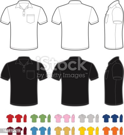 Vector illustration of classic men's polo. Front, rear and side views. Easy color change.
