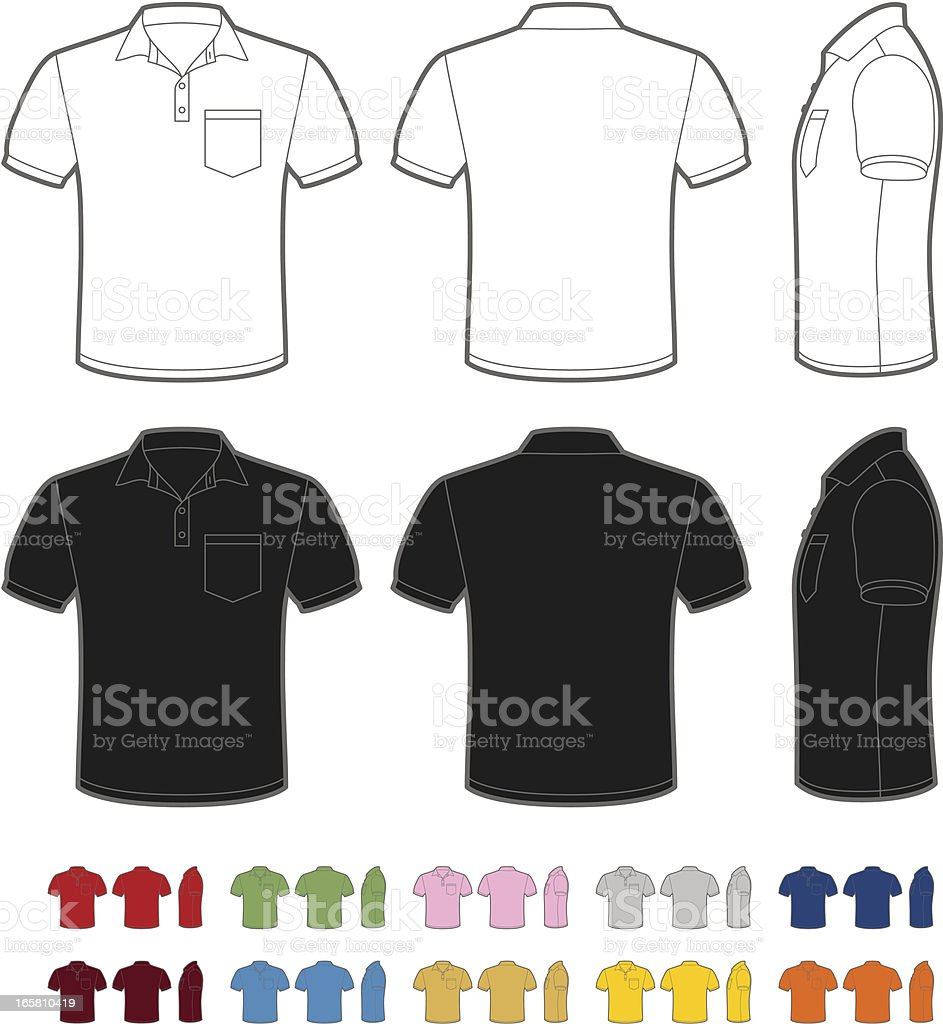 Men's polo shirt vector art illustration
