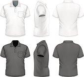 Men's polo-shirt design template. Photo-realistic vector illustration.