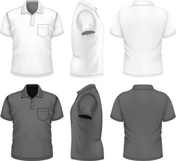 stockillustraties, clipart, cartoons en iconen met men's polo-shirt design template - korte mouwen