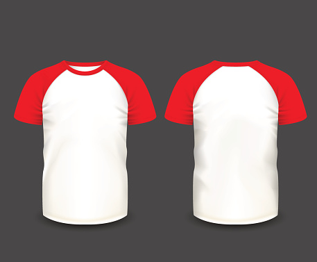 Mens raglan t-shirt in front and back views.