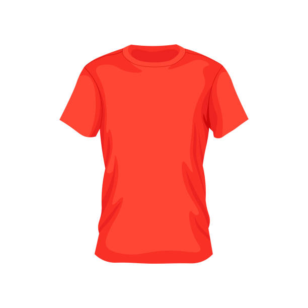 Men's red t-shirt with short sleeve in front views. Men's red t-shirt with short sleeve in front views. Vector illustration. red shirt stock illustrations