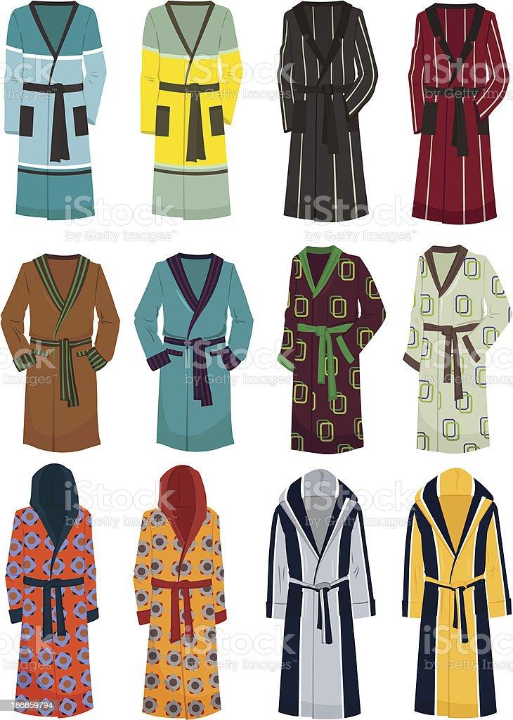 Men's robes vector art illustration