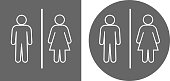 Men's Room and Women's Room Icon. This 100% royalty free vector illustration is featuring the square button and a round button. The main icon is white in color and is depicted in on gray background.