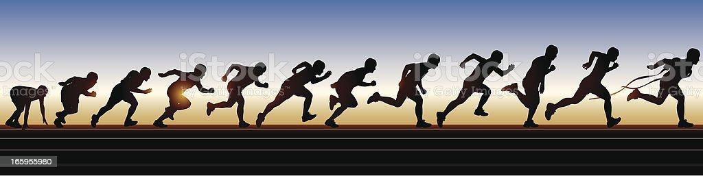 Men's Running vector art illustration