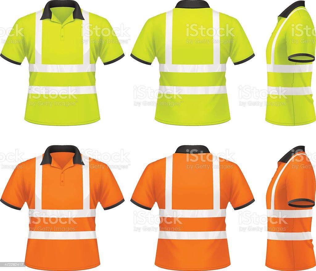 Men's safety polo shirt vector art illustration