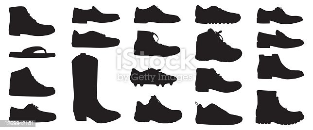 Vector silhouettes of twenty different men's shoes.