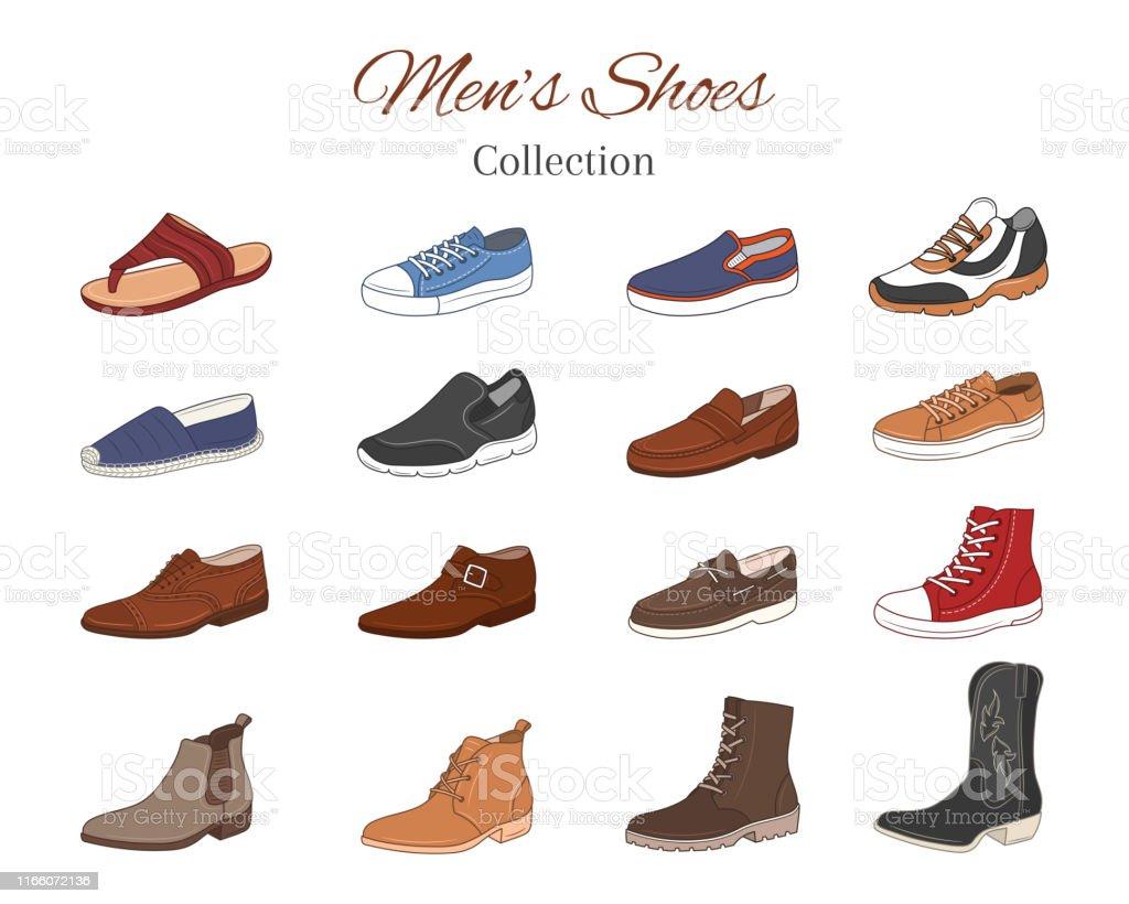 Ilustración de Colección De Zapatos De Hombre Varios Tipos