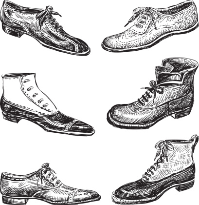 Vector image of various models of men's shoes.