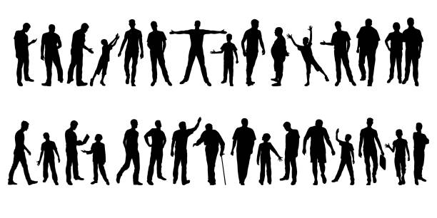 men's silhouettes - old man standing background stock illustrations, clip art, cartoons, & icons