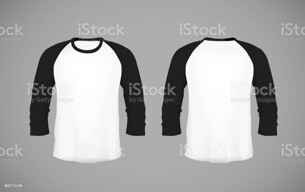 Shirt met honkbal voor mannen slank-montage lange mouwen. Zwarte Mock-up ontwerpsjabloon voor branding. - Royalty-free Close-up vectorkunst