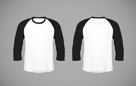 Men's slim-fitting long sleeve baseball shirt. Black Mock-up design template for branding.