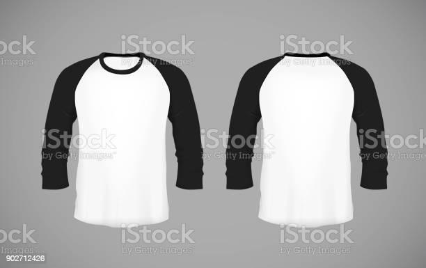Shirt Met Honkbal Voor Mannen Slankmontage Lange Mouwen Zwarte Mockup Ontwerpsjabloon Voor Branding Stockvectorkunst en meer beelden van Close-up