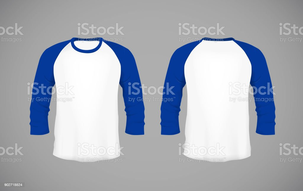 Men's slim-fitting long sleeve baseball shirt. Blue Mock-up design template for branding. vector art illustration
