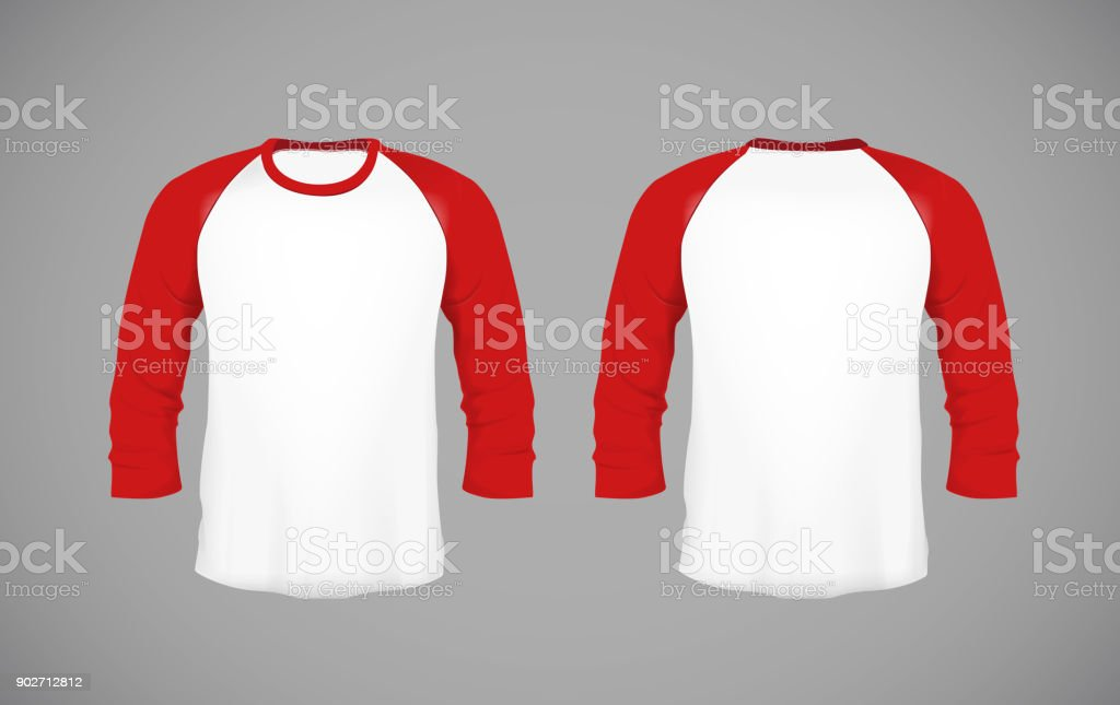 Men's slim-fitting long sleeve baseball shirt. Red Mock-up design template for branding. vector art illustration