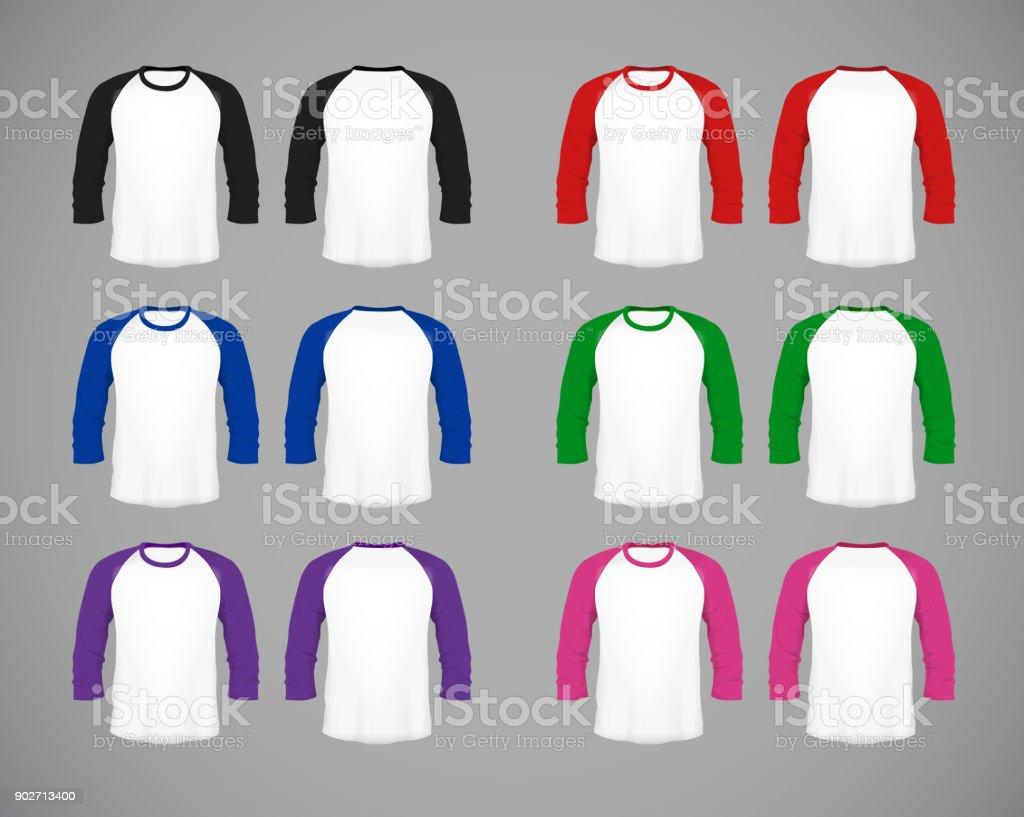 Men's slim-fitting long sleeve baseball shirt set. Multicolor Mock-up design template for branding. vector art illustration