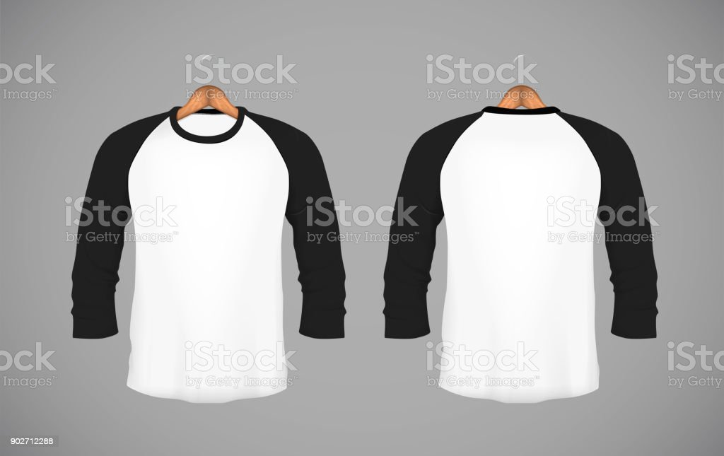 Men's slim-fitting long sleeve baseball shirt with wood hanger. Black Mock-up design template for branding. vector art illustration