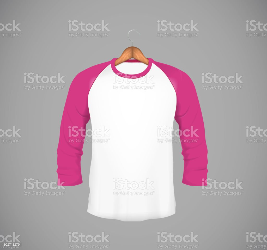 Mens Slimfitting Long Sleeve Baseball Shirt With Wood Hanger Pink