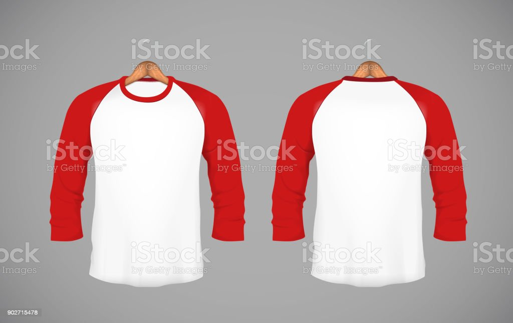 Men's slim-fitting long sleeve baseball shirt with wood hanger. Red Mock-up design template for branding. vector art illustration