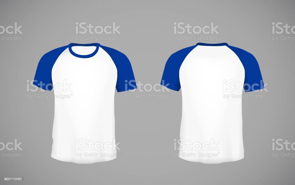 Mens Slimfitting Short Sleeve Baseball Shirt Blue Mockup