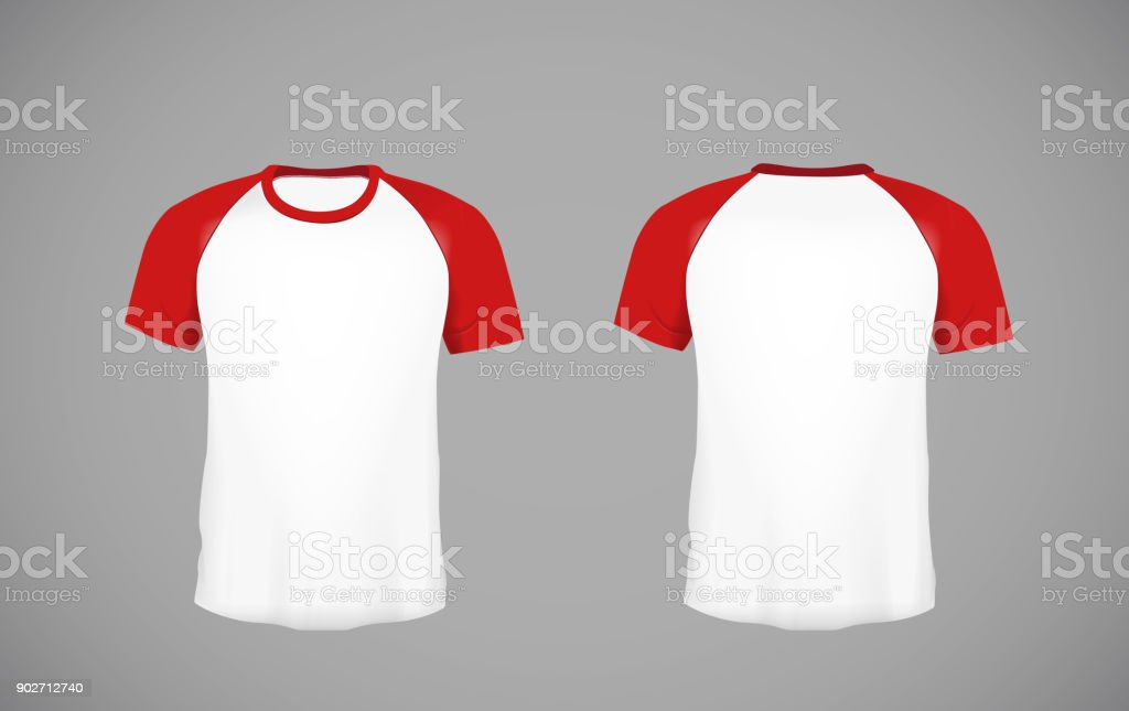 Men's slim-fitting short sleeve baseball shirt. Red Mock-up design template for branding. vector art illustration
