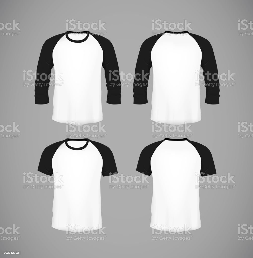 fb3c83d6 Men's slim-fitting short sleeve baseball shirt set. Black Mock-up design  template for branding. - Illustration .