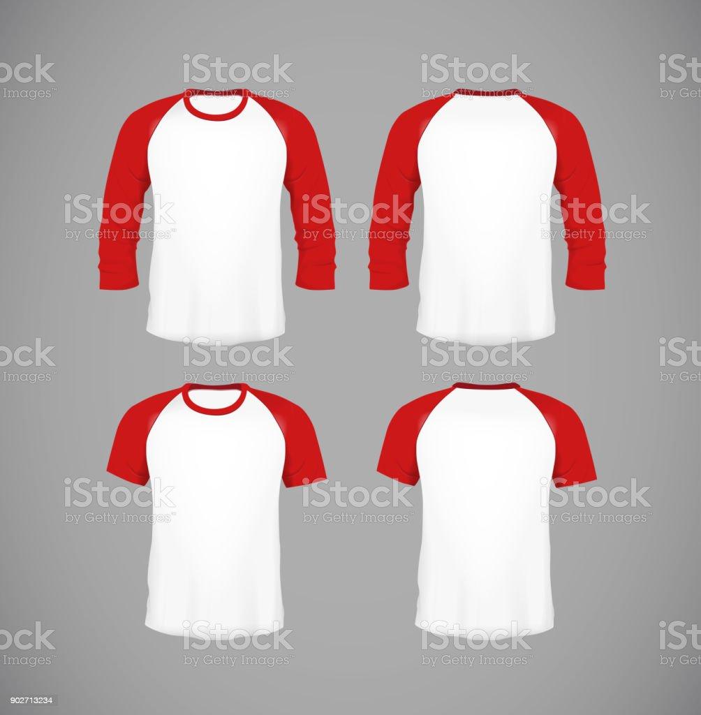 Men's slim-fitting short sleeve baseball shirt set. Black Mock-up design template for branding. vector art illustration