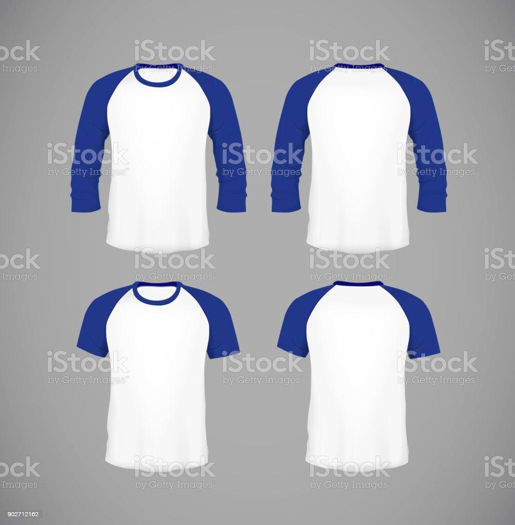 Men's slim-fitting short sleeve baseball shirt set. Blue Mock-up design template for branding. vector art illustration