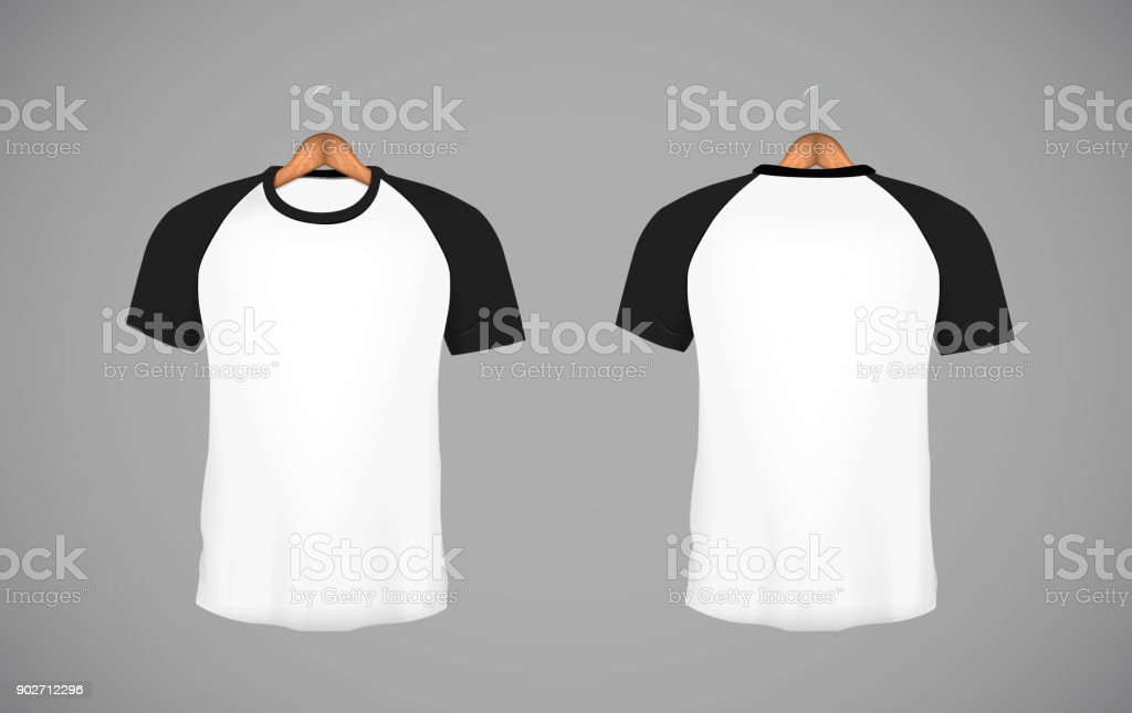 Men's slim-fitting short sleeve baseball shirt with wood hanger. Black Mock-up design template for branding. vector art illustration