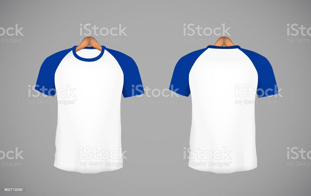 Men's slim-fitting short sleeve baseball shirt with wood hanger. Blue Mock-up design template for branding. vector art illustration