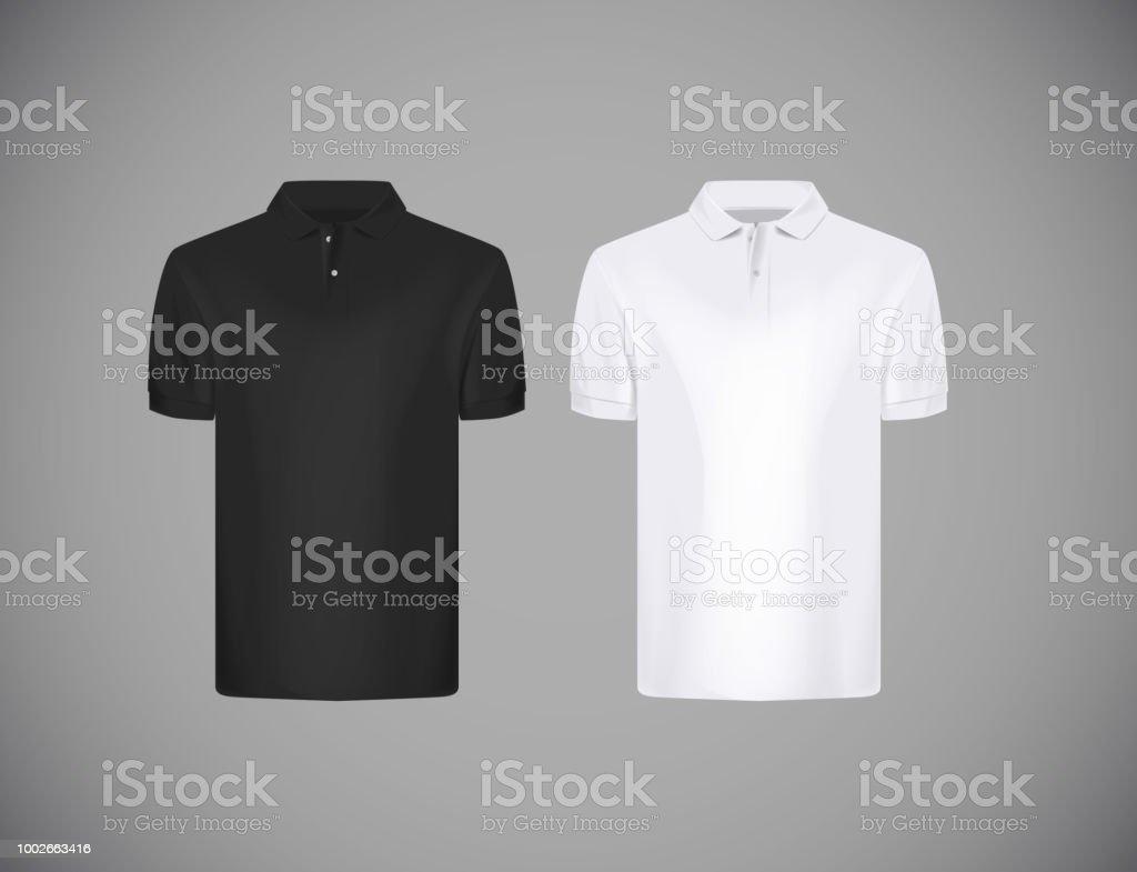 Mens Slimfitting Short Sleeve Polo Shirt Black And White Polo