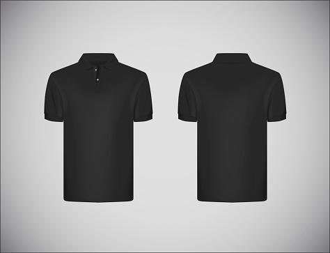 mejor selección 152b2 aac80 Ilustración de Camisa De Polo De Manga Corta De La Delgadoguarnición De Los  Hombres Camisa Negra Polo Plantilla De Diseño De Maqueta Para La Marca y ...