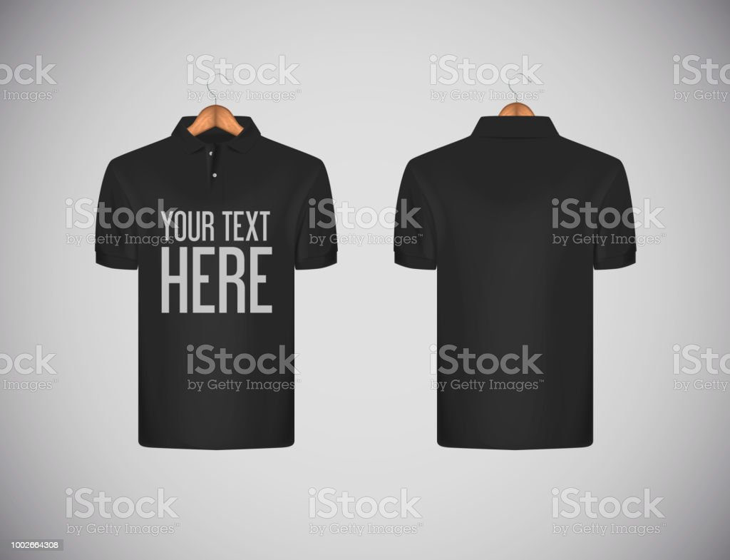 6e087ab2 Men's slim-fitting short sleeve polo shirt with lettering for advertising. Black  polo shirt