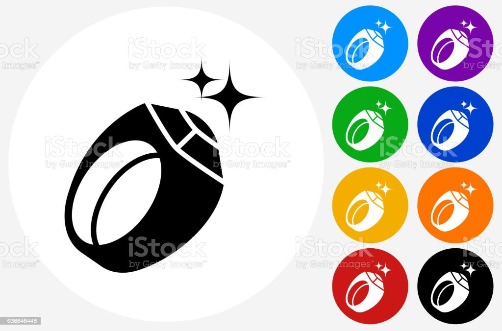 Men's Sports Award Ring Icon on Flat Color Circle Buttons vector art illustration